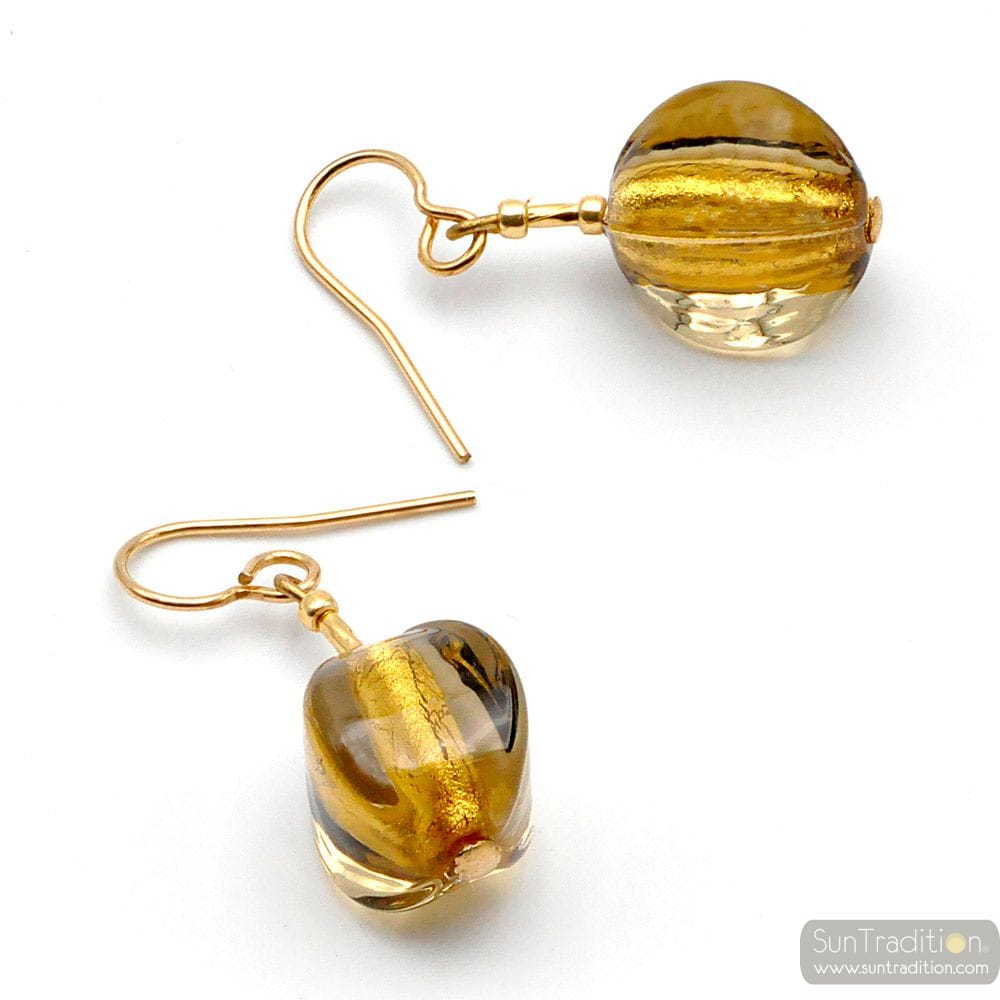 LANCET OLIVA SQUADRATA GOLD - GOLD MURANO GLASS EARRINGS