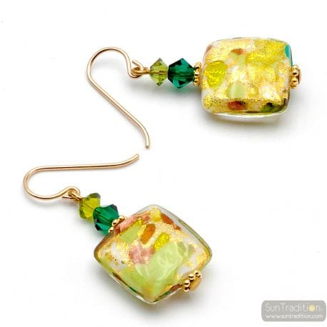 GREEN MURANO GLASS DROP EARRINGS GLASS OF VENICE