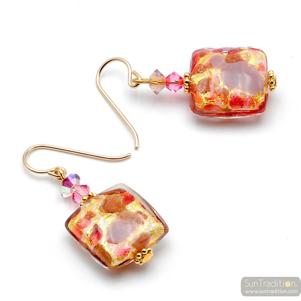 PINK MURANO GLASS DROP EARRINGS GLASS OF VENICE