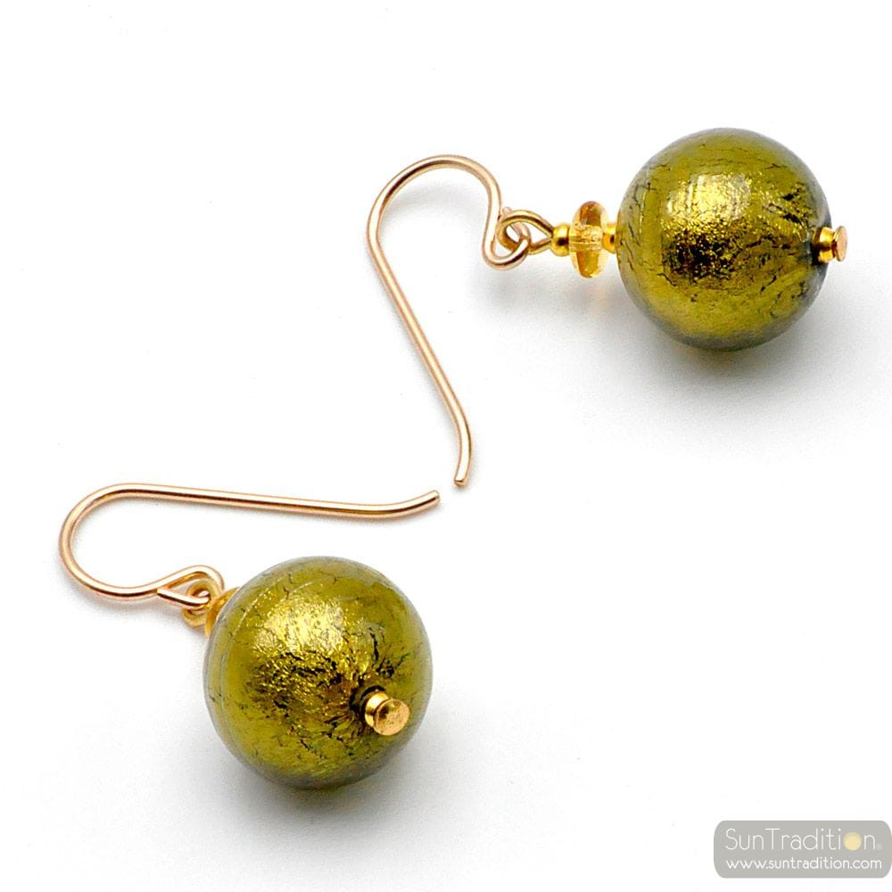 BALL KHAKI - GREEN MURANO GLASS EARRINGS GENUINE VENICE