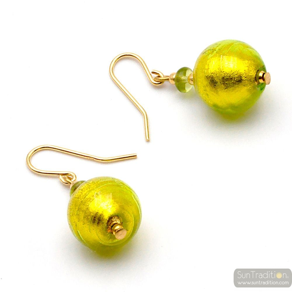 BALL LIME - GREEN MURANO GLASS EARRINGS GENUINE VENICE