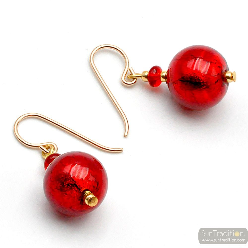 RED BALL - RED EARRINGS GENUINE VENICE MURANO GLASS