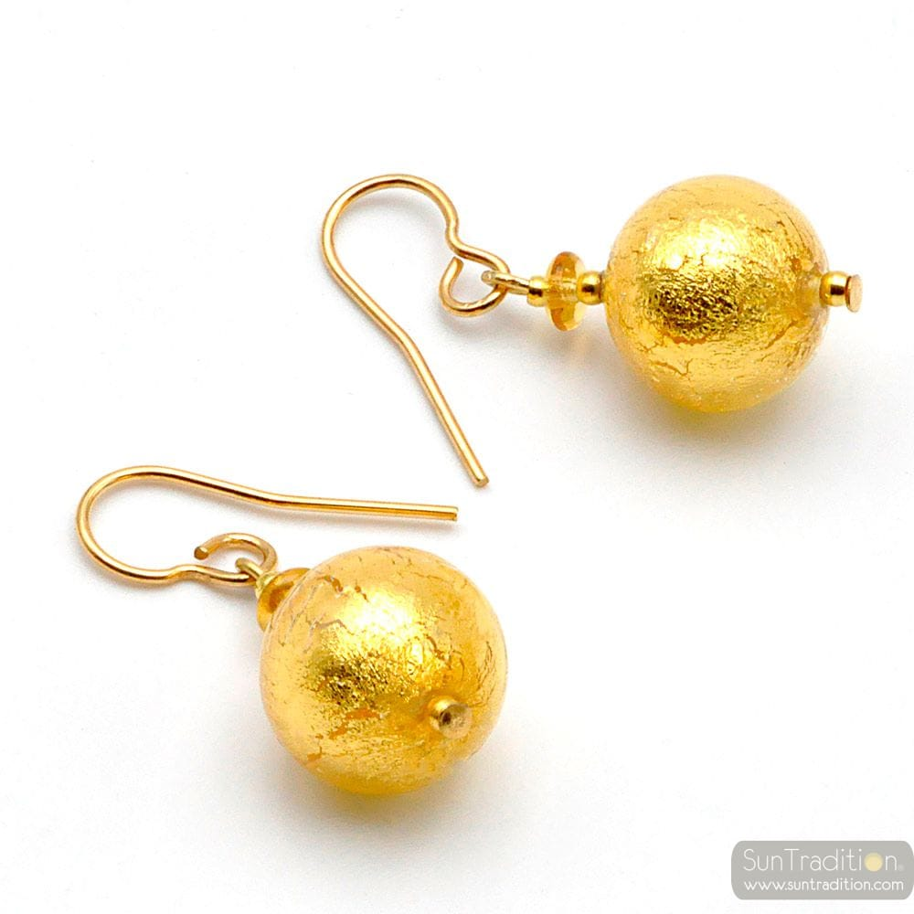 BALL OR - BOUCLES D'OREILLES OR BIJOUX EN VERITABLE VERRE DE MURANO DE VENISE