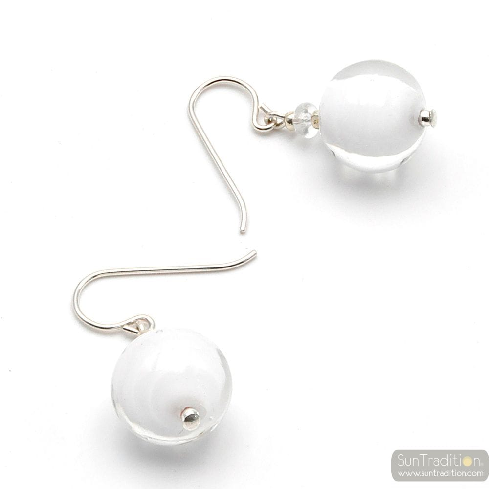 WHITE EARRINGS GENUINE VENICE MURANO GLASS
