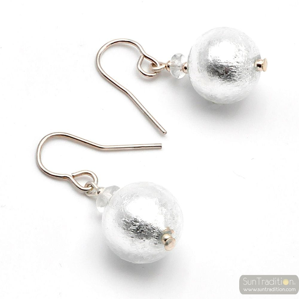 BALL SILVER - SILVER EARRINGS GENUINE VENICE MURANO GLASS