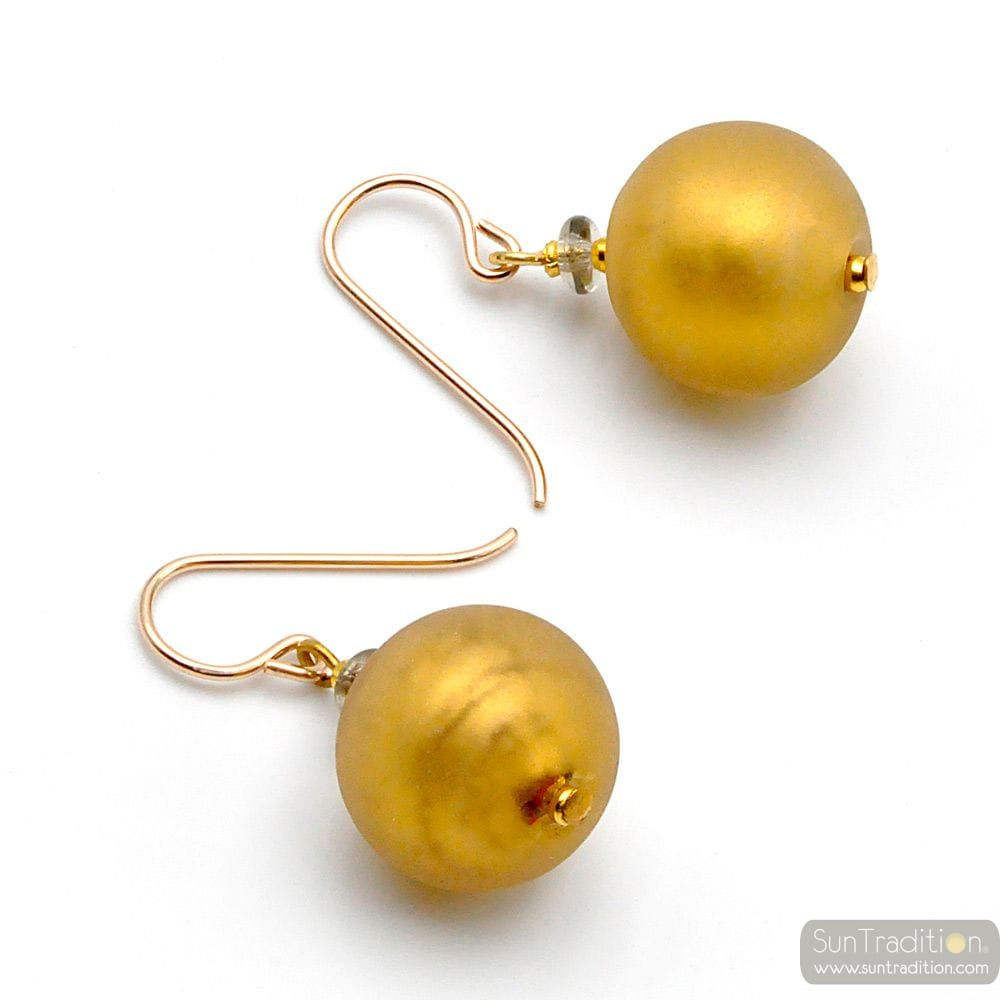BALL SATIN GOLD - GOLD MURANO GLASS EARRINGS GENUINE VENICE