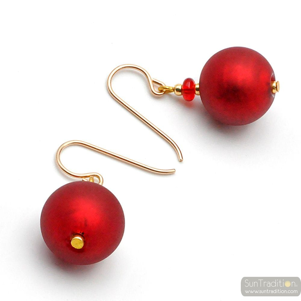 BALL SATIN RED - RED MURANO GLASS EARRINGS GENUINE VENICE