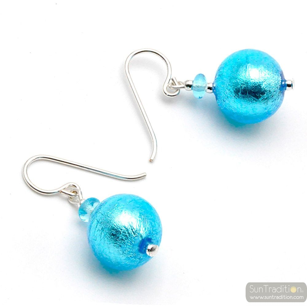 BLUE MURANO GLASS EARRINGS JEWELRY