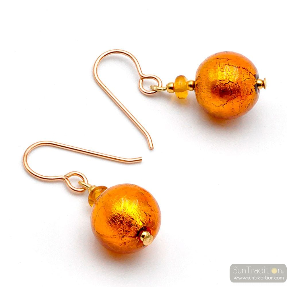 BALL AMBER - AMBER MURANO GLASS EARRINGS GENUINE JEWELRY FROM VENICE