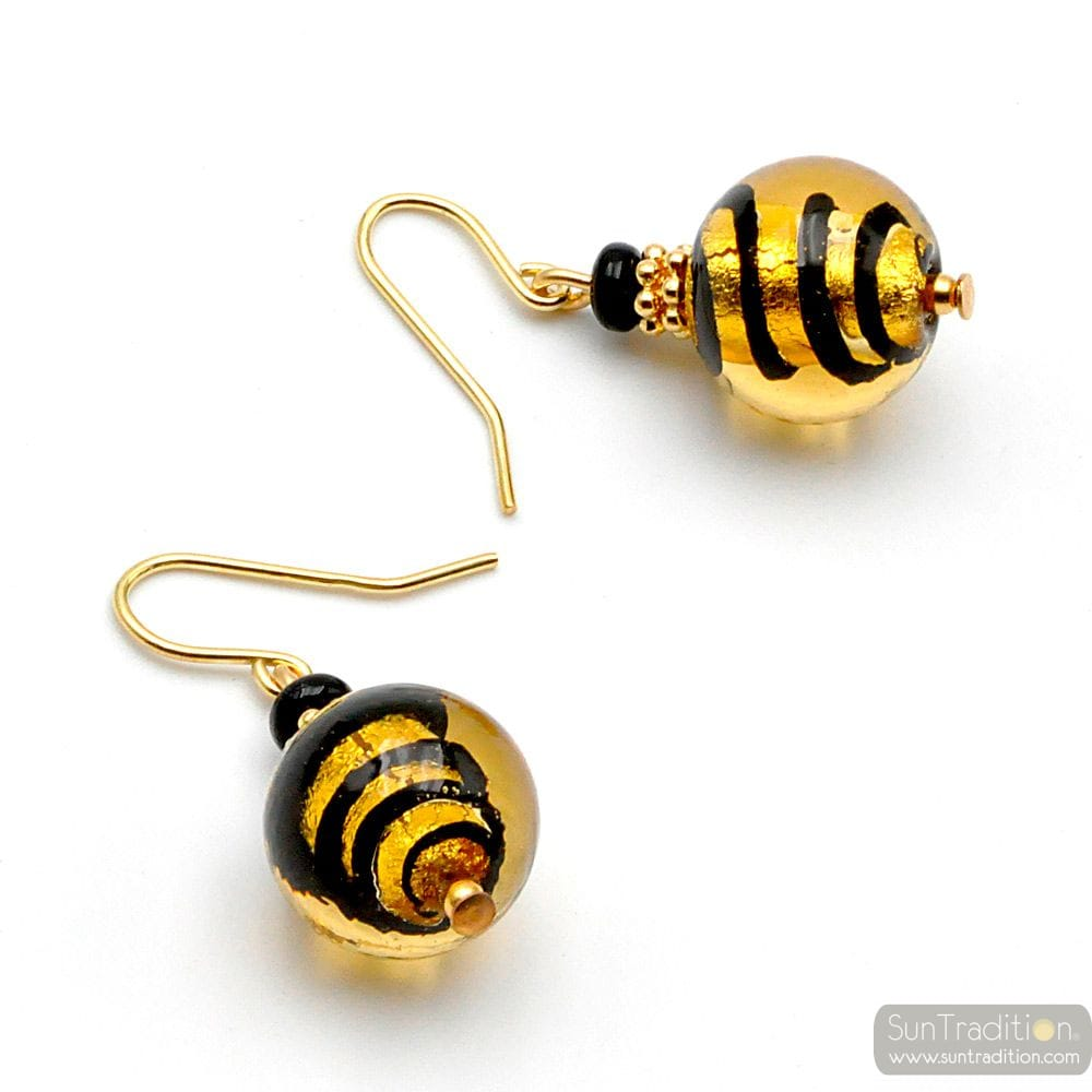 GOLD MURANO GLASS EARRINGS GENUINE MURANO GLASS