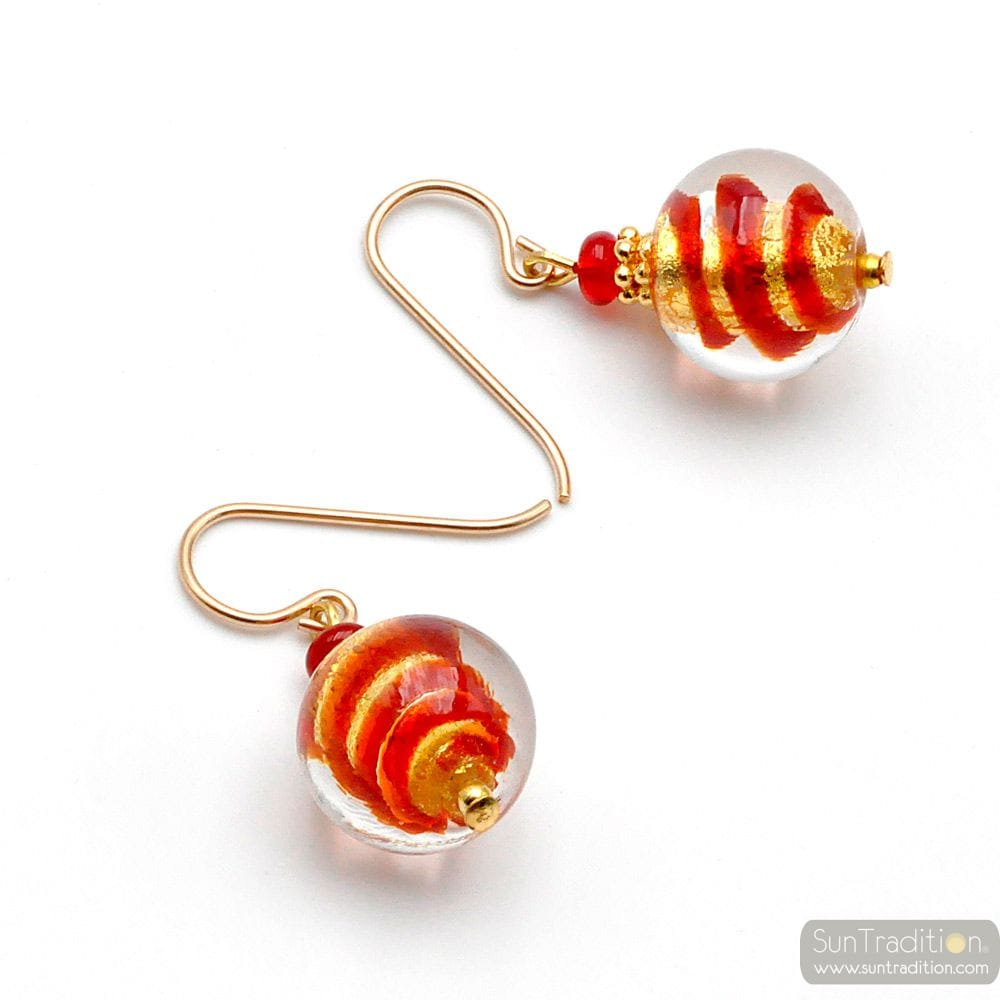 RED AND GOLD MURANO GLASS EARRINGS