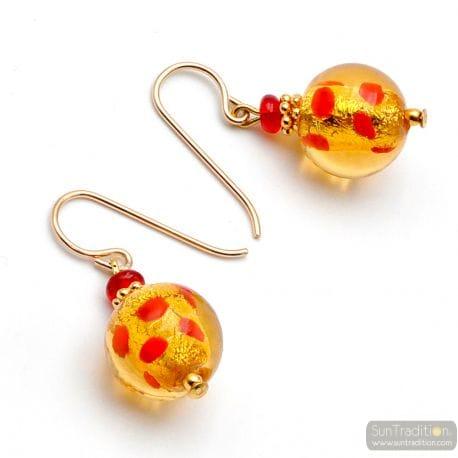 MIX RED PEAS MURANO GLASS EARRINGS