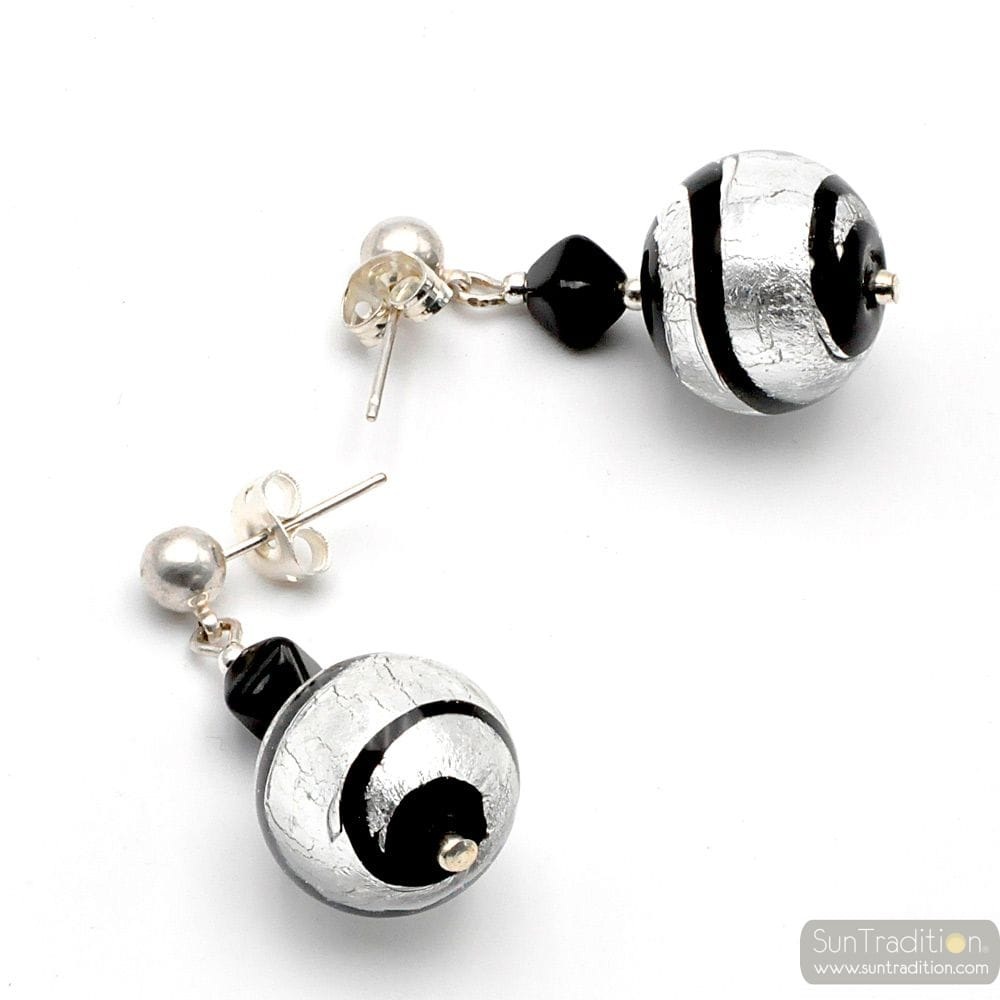 RUMBA SILVER - SILVER MURANO GLASS EARRINGS GENUINE VENICE MURANO GLASS
