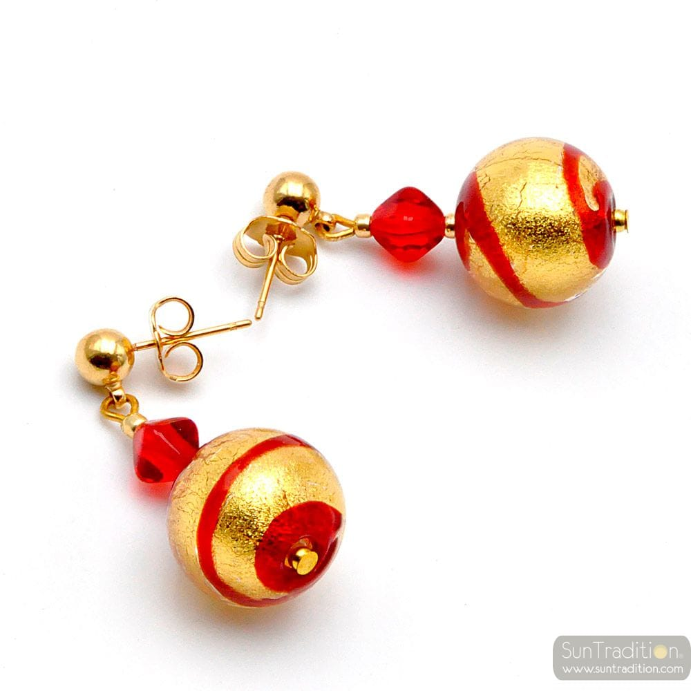 RUMBA RED - RED MURANO GLASS EARRINGS GENUINE VENICE GLASS