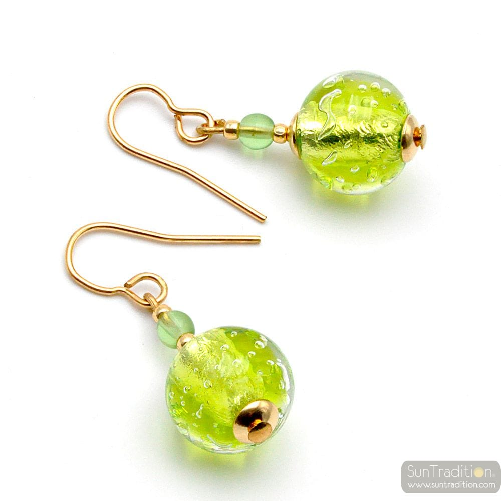 FIZZY LIME GREEN - GREEN LIME MURANO GLASS EARRINGS GENUINE VENICE GLASS