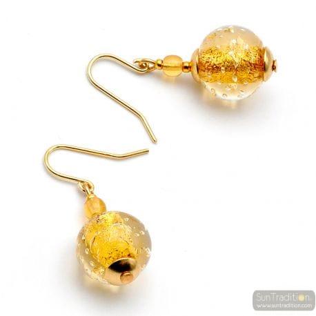 GOLD MURANO GLASS EARRINGS GENUINE VENICE GLASS