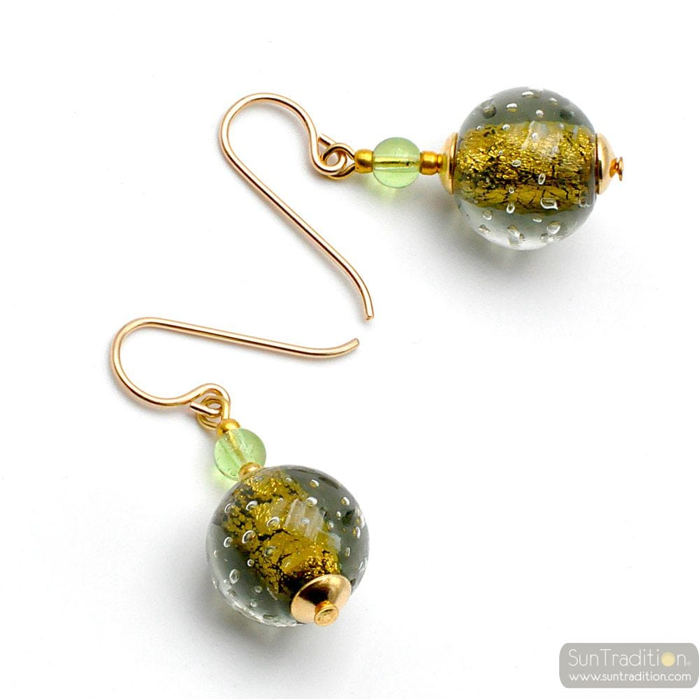 FIZZY GREEN GREY - GREEN GREY MURANO GLASS EARRINGS