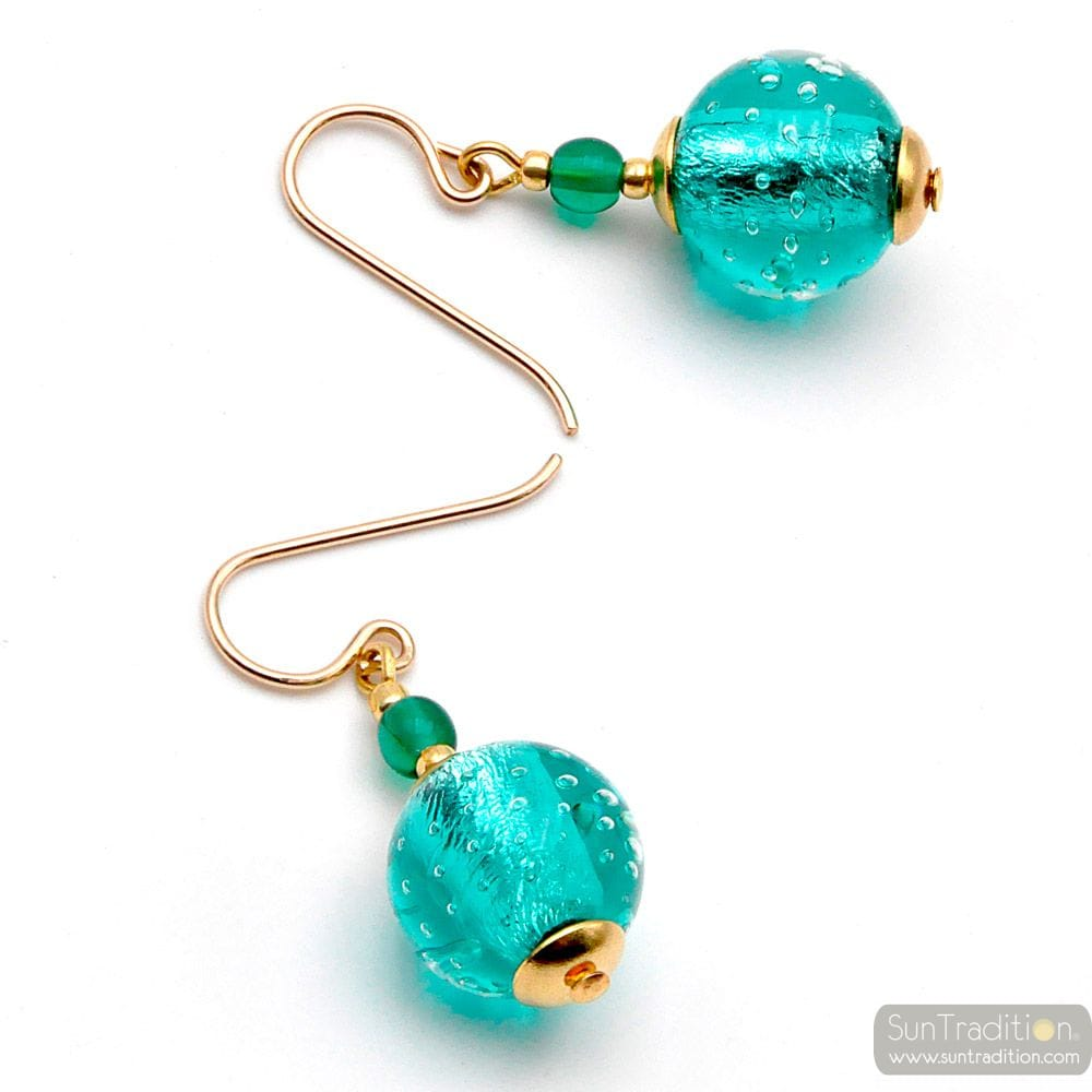 FIZZY TURQUOISE BLUE - BLUE TURQUOISE MURANO GLASS EARRINGS