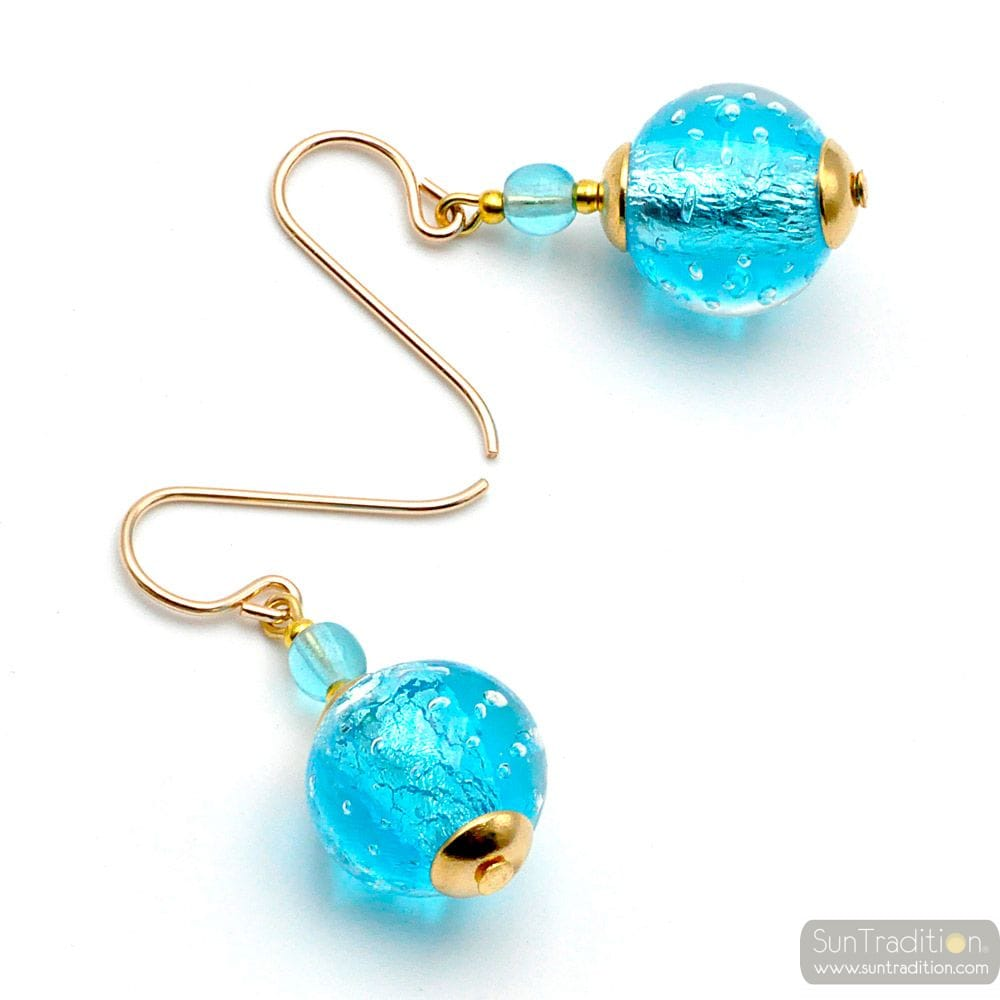 FIZZY AZURE BLUE - BLUE MURANO GLASS EARRINGS