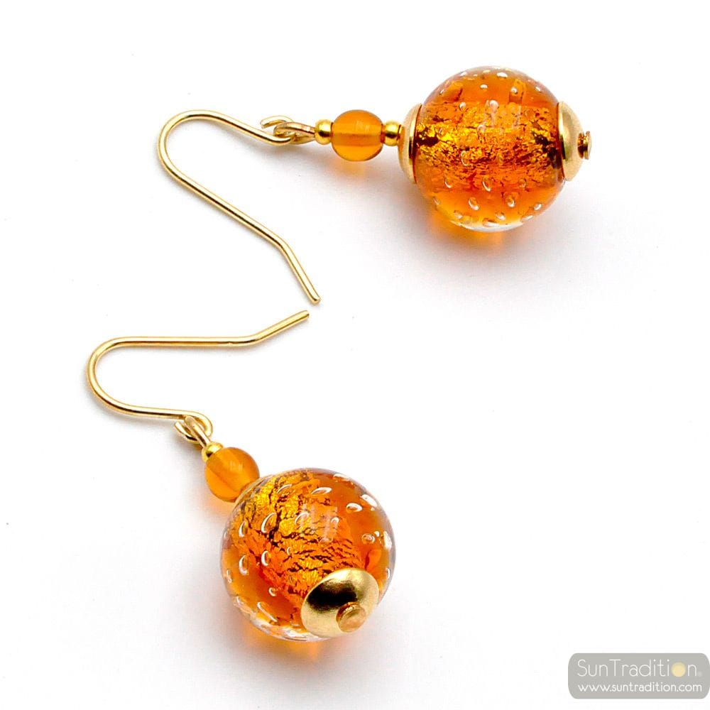 FIZZY AMBER - AMBER MURANO GLASS EARRINGS