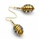 FENICIO OLIVE BLACK GOLD - GOLD MURANO GLASS EARRINGS OF VENICE