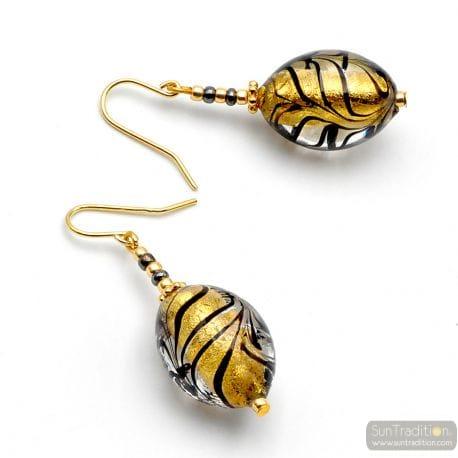 GOLD MURANO GLASS EARRINGS OF VENICE