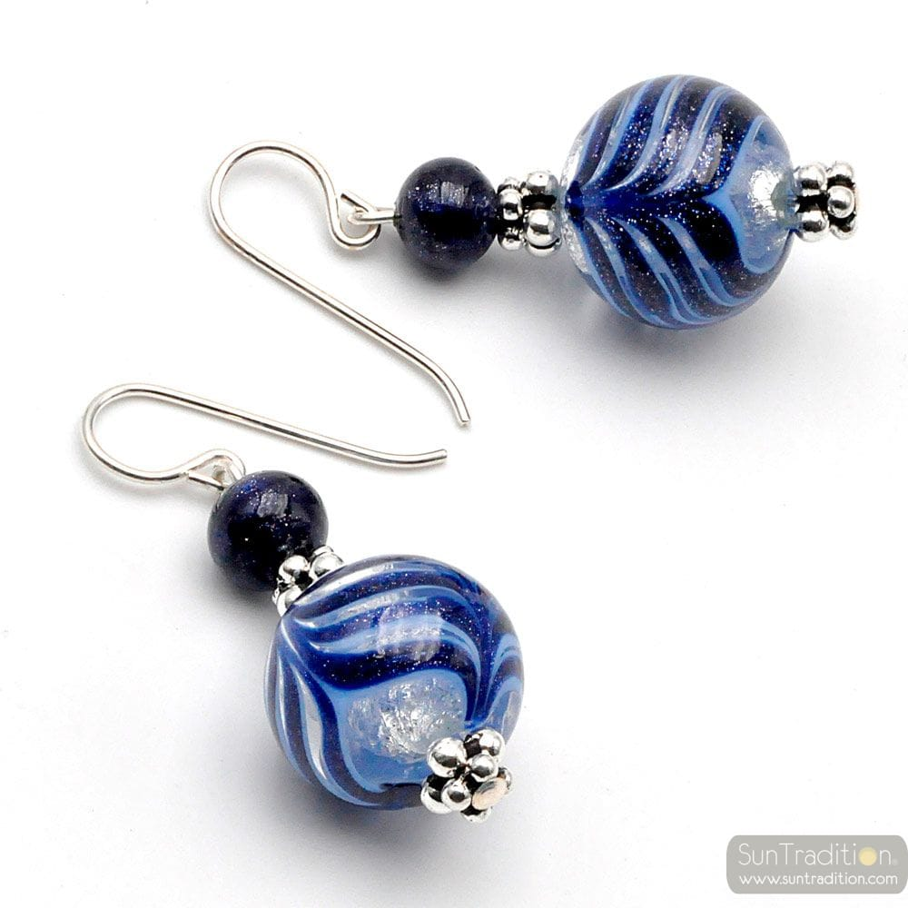 FENICIO BLUE - BLUE MURANO GLASS EARRINGS GENUINE VENICE