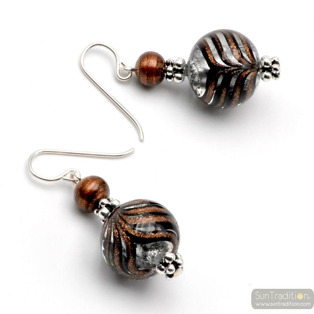 SILVER EARRINGS GENUINE VENICE MURANO GLASS