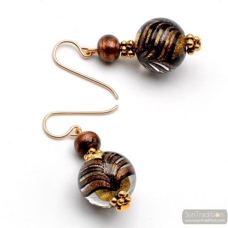 GOLD MURANO GLASS EARRINGS VENICE