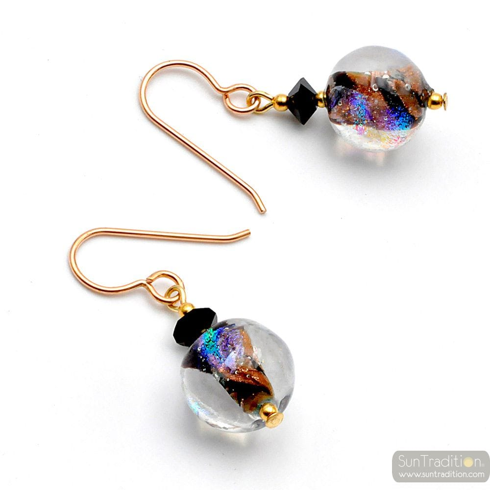 BLACK AND GOLD MURANO GLASS EARRINGS