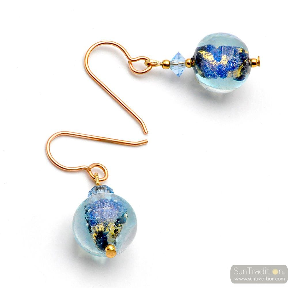MOONLIGHT BLUE - BLUE MURANO GLASS EARRINGS GENUINE VENICE MURANO GLASS