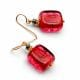 SCHISSA RED - RED MURANO GLASS EARRINGS GENUINE VENITIAN GLASS