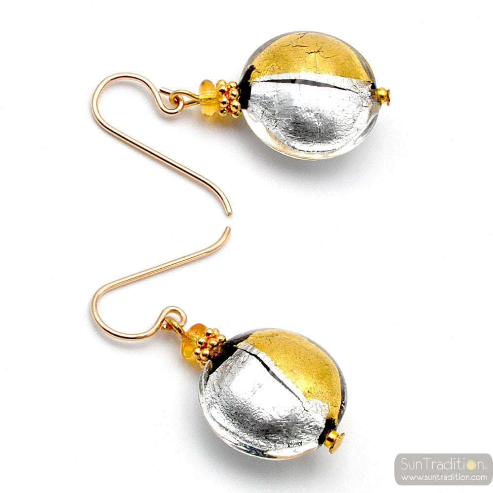 CHARLY DUO - GOLD AND SILVER MURANO VENITIAN GLASS EARRINGS GENUINE MURANO GLASS