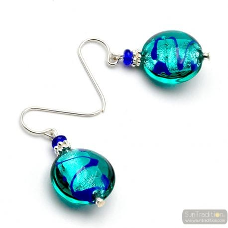 TURQUOISE BLUE MURANO GLASS EARRINGS