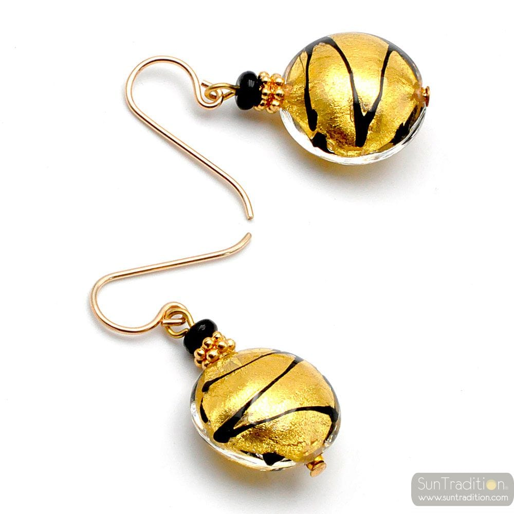 CHARLY GOLD - GOLD MURANO GLASS EARRINGS GENUINE MURANO GLASS VENICE