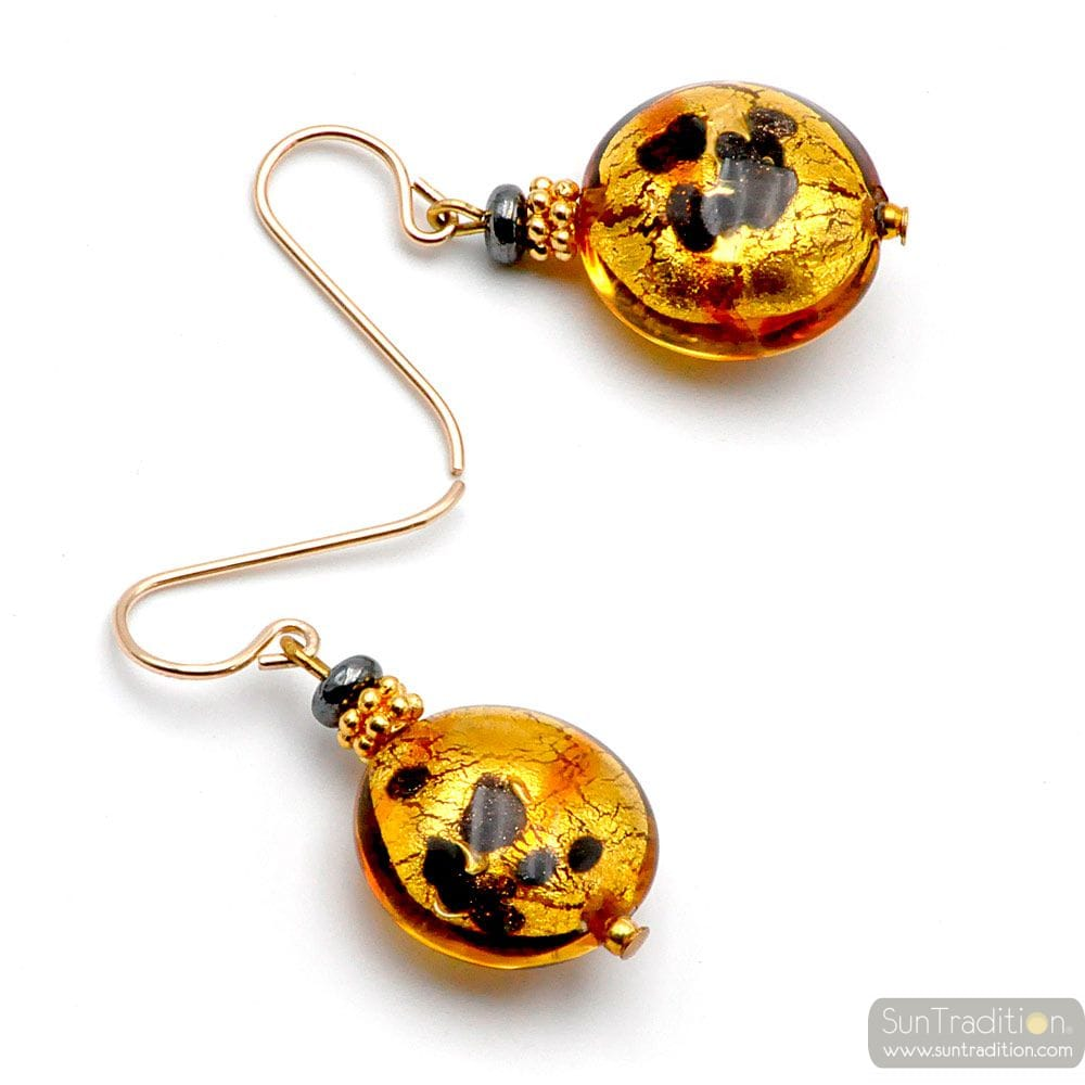 CHARLY OR TACHETE - BOUCLES D'OREILLES OR BIJOU EN VERITABLE VERRE DE MURANO DE VENISE