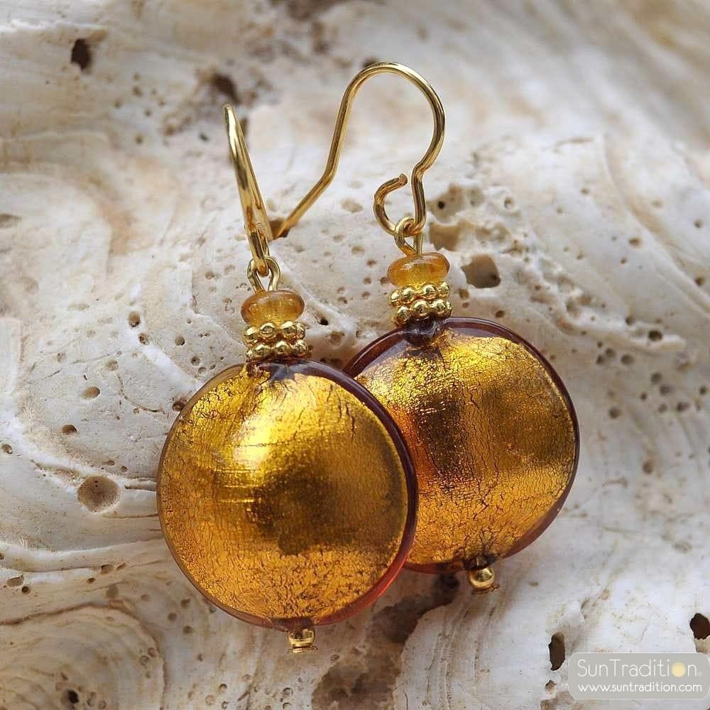 PASTIGLIA AMBER GOLD OR - AMBER GOLD MURANO GLASS EARRINGS TRUE VENICE GLASS