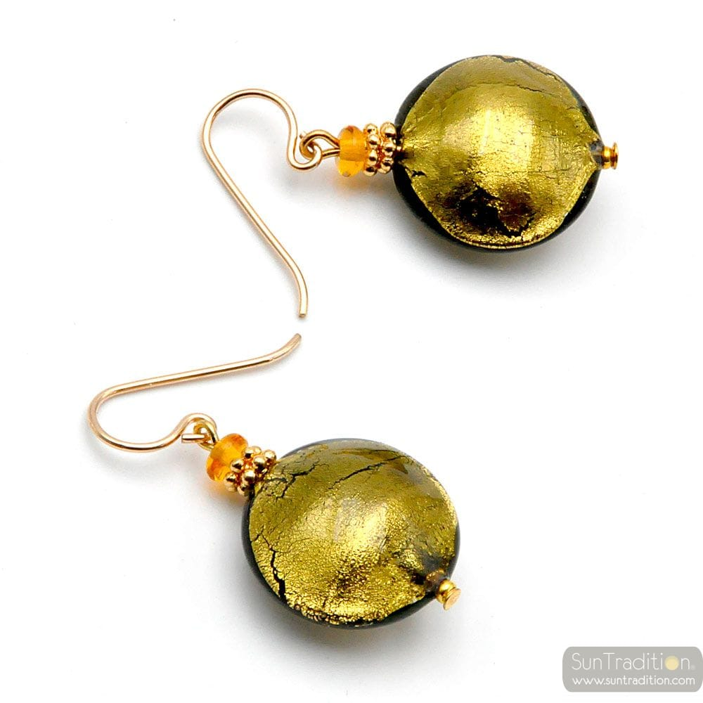 PASTIGLIA GOLD GREY - GOLD MURANO GLASS EARRINGS REAL VENICE GLASS