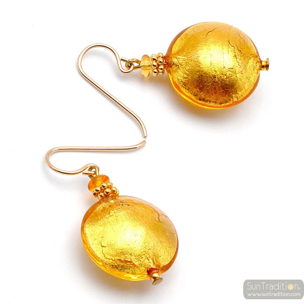 PASTIGLIA YELLOW GOLD - YELLOW GOLD MURANO GLASS EARRINGS GENUINE VENICE GLASS