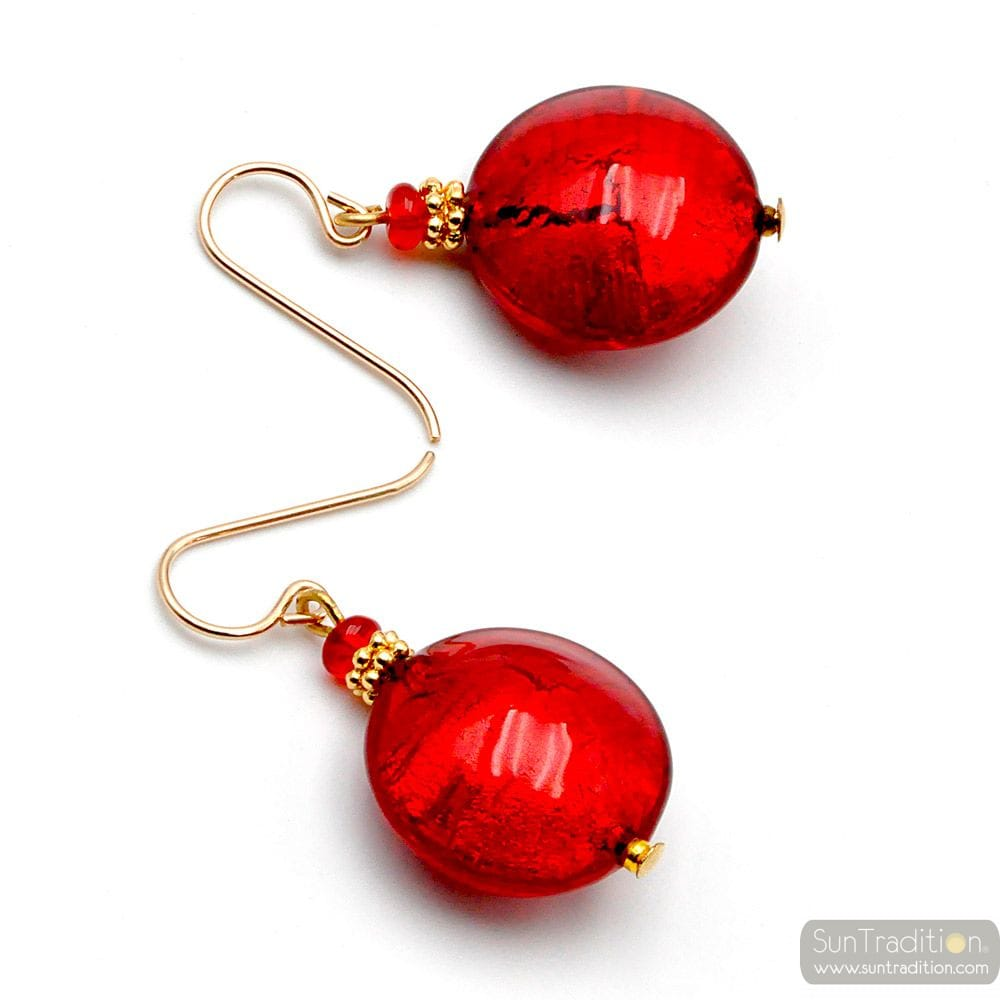 PASTIGLIA RED - RED MURANO GLASS EARRINGS GENUINE VENICE GLASS
