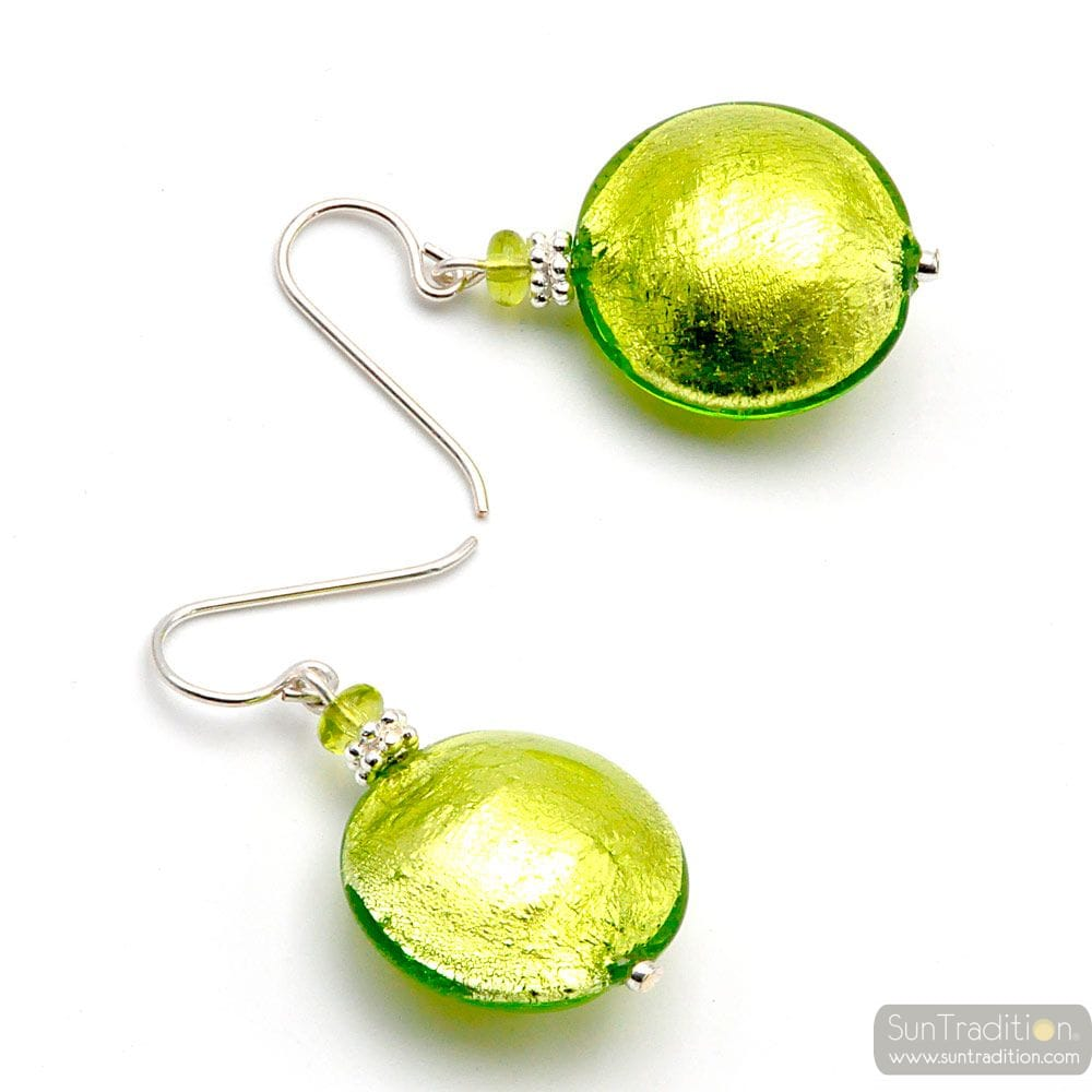 PASTIGLIA GREEN - GREEN MURANO GLASS EARRINGS GENUINE VENITIAN GLASS