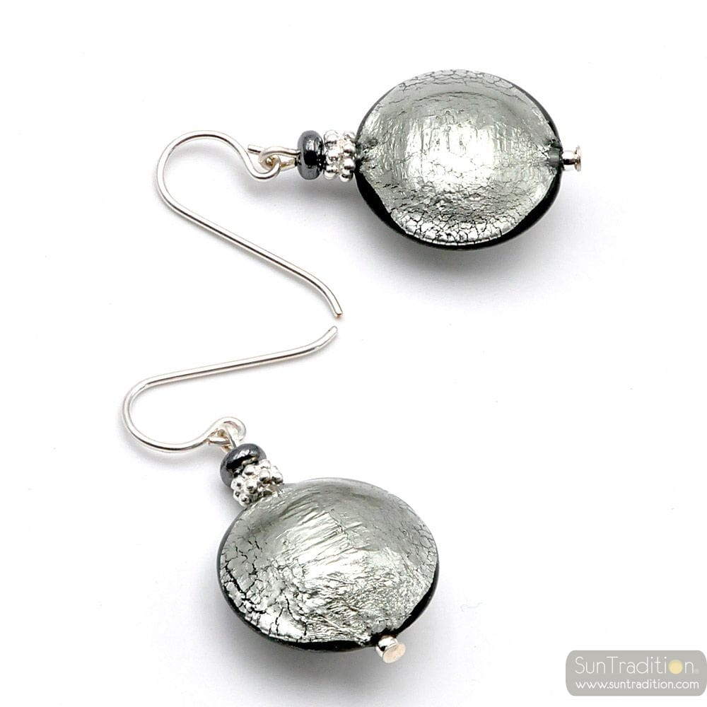 PASTIGLIA SILVER - SILVER MURANO GLASS EARRINGS GENUINE VENICE GLASS