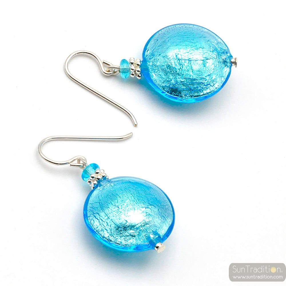 PASTIGLIA BLUE AZURE - BLUE MURANO GLASS EARRINGS GENUINE GLASS OF VENICE