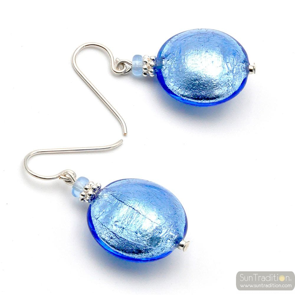 PASTIGLIA BLUE OCEAN - BLUE MURANO GLASS EARRINGS REAL VENICE GLASS
