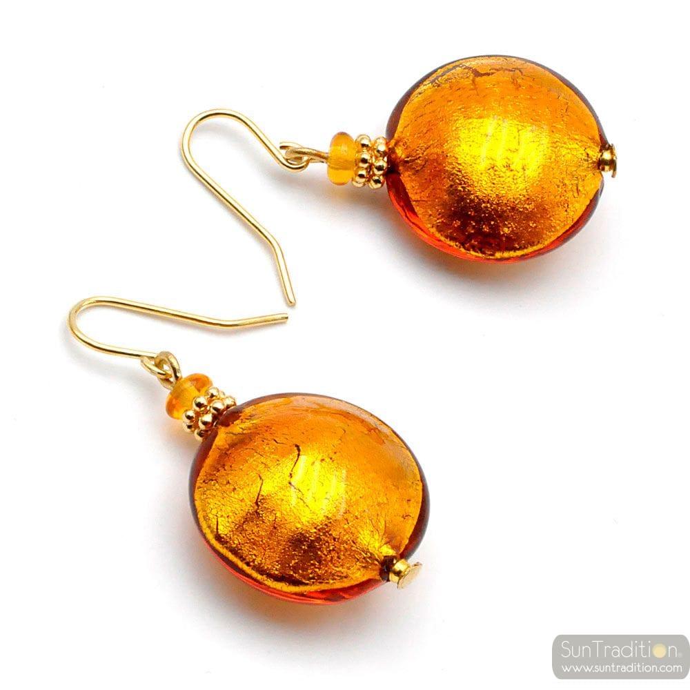 AMBER GOLD MURANO GLASS EARRINGS