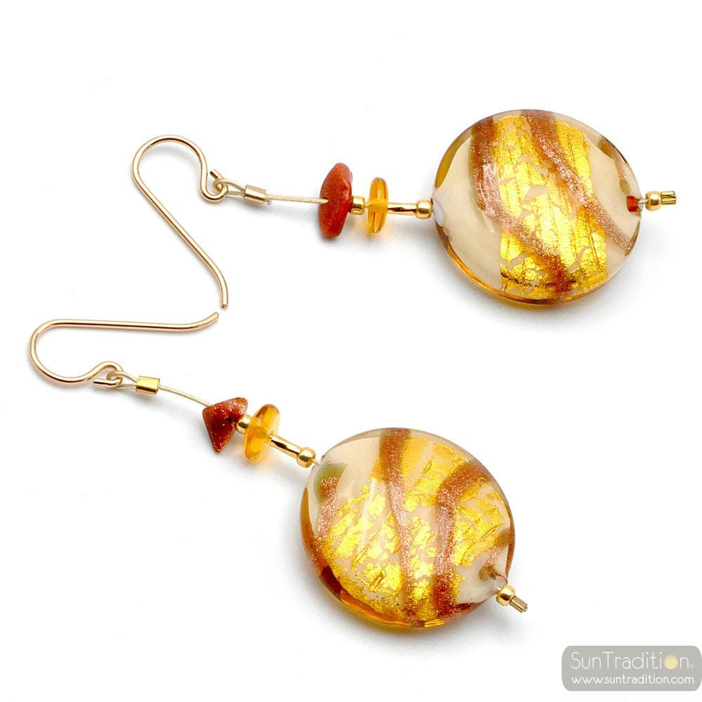 CARAMEL PANNA - GOLD MURANO GLASS DROP EARRINGS GENUINE VENICE MURANO GLASS