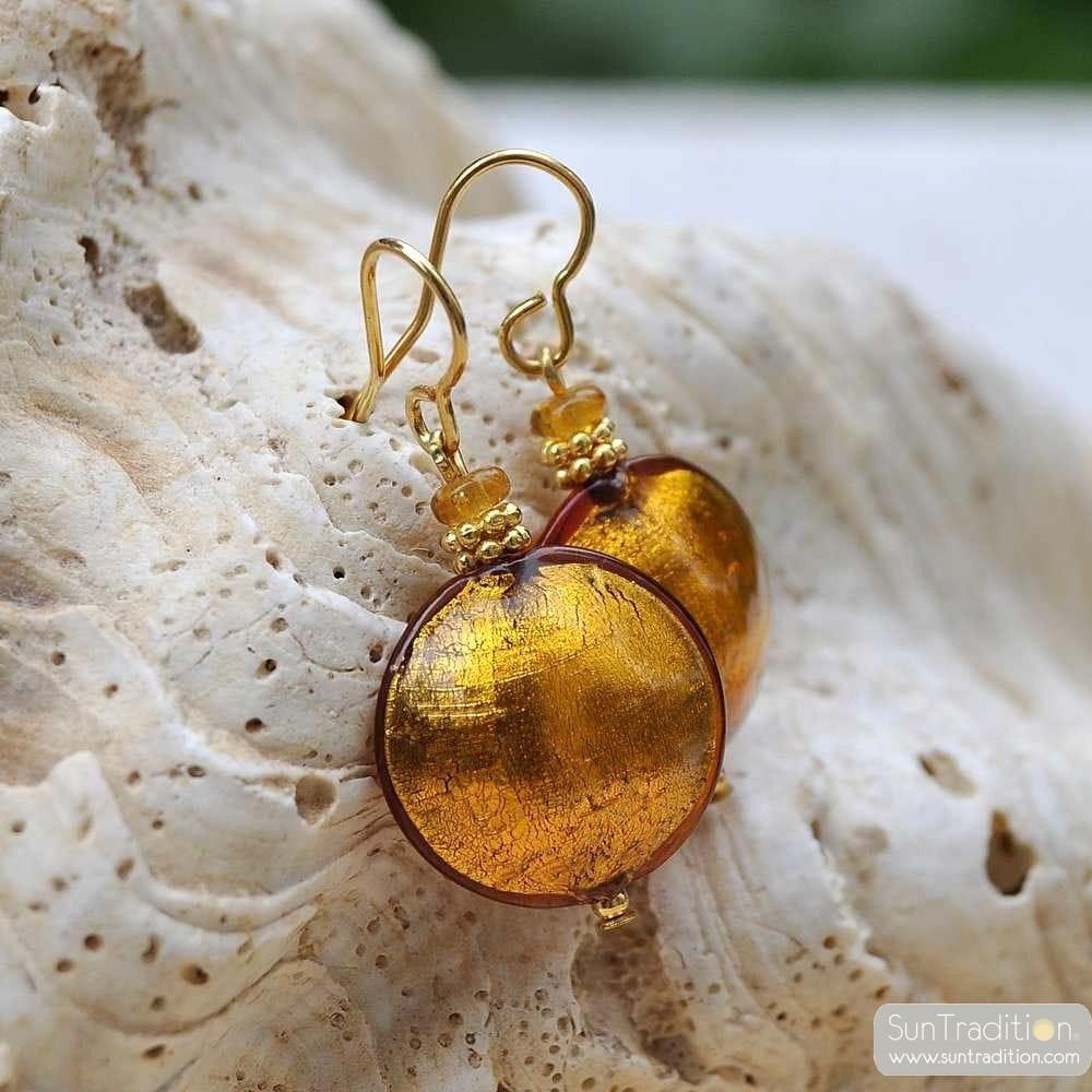 amber murano glass jewelry earrings