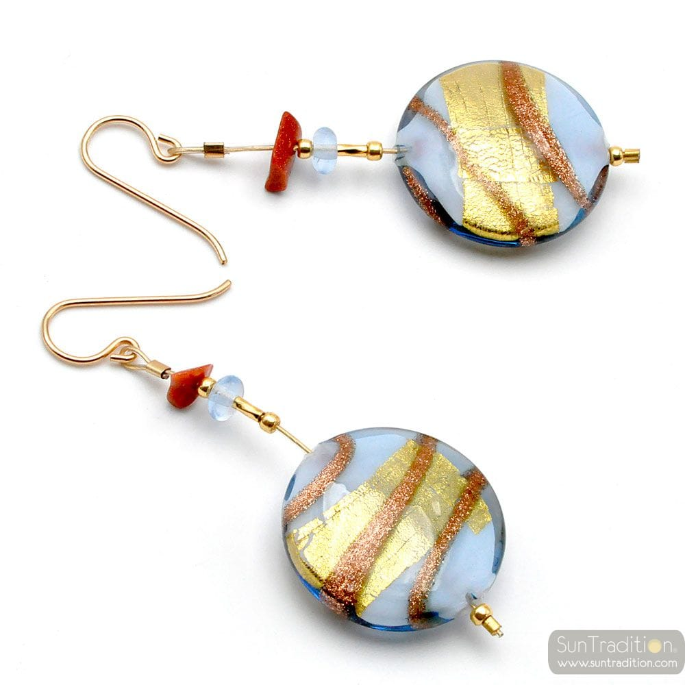 CARAMEL PERVINCA - BLUE MURANO GLASS DROP EARRINGS FROM VENICE