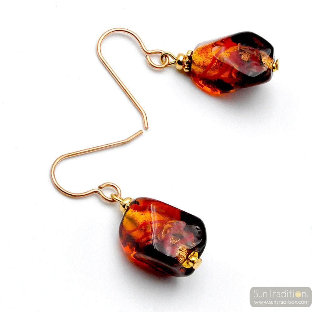 SASSO BICOLOR RED - RED MURANO GLASS EARRINGS