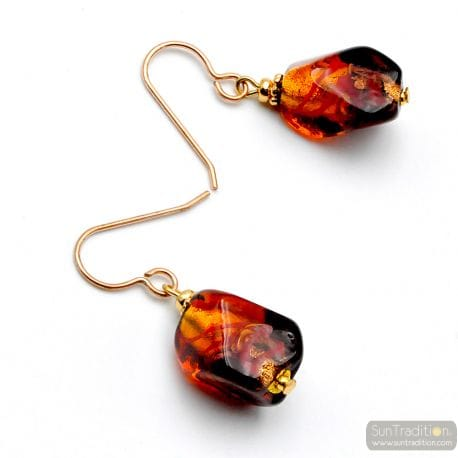 RED MURANO GLASS EARRINGS